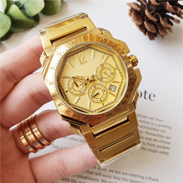 watches italy brand men Australia - Hot Italy Luxury Mens Brand Watch Chronograph Stainless Steel 41mm Dial High-Quality Business Men Quartz Watch-Gold