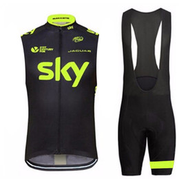 Discount team sky jersey shorts - 2019 NEW SKY team Cycling Sleeveless jersey Vest bib shorts sets Breathable hight quality Slim fit Top brand