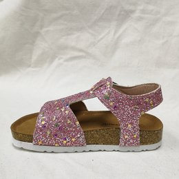 Glitter Shoes For Girls Australia - Kids Sandals Clogs Glitter Sandals for Girls Shinny PU Leather Stylish Shoes for Toddlers Corks Kids Footwear Sandales Kids