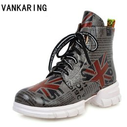 zipper sneakers women 2019 - fashion print leather zipper ankle boots platform lace-up waterproof autumn winter snow boots woman girls sneakers casua
