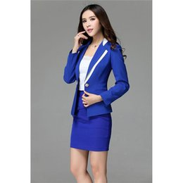 $enCountryForm.capitalKeyWord Australia - new Women's Casual Suit Skirt + Suit Set Royal Blue Female Office Uniform Business Work Suits Ladies Winter Formal Suits