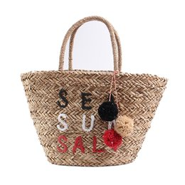 Wholesale Colorful Hairball Pendant Straw Bags Women Embroidery Letter Hand Woven Basket Bags Women Casual Tote Girl Summer Beach Bag