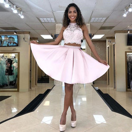 White short dress prom online shopping - Light Pink Satin A Line Homecoming Dresses Halter Neck Lace op Sexy Backless Graduation Gowns Two Pieces Short Prom Dress