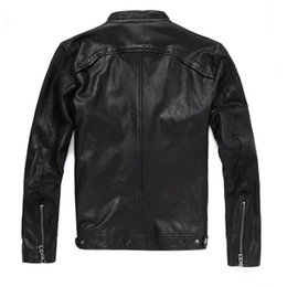 sheep collar jacket men UK - 2020 New Men Leather Jacket Genuine Real Sheep Goat Skin Brand Black Male Bomber Motorcycle Biker Mans Coat Male Stand Collar