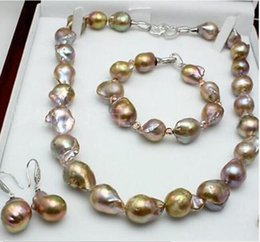 $enCountryForm.capitalKeyWord Australia - Beautiful 13-18 mm nature baroque pearl necklace 18inch bracelet 7.5-8 inch earring Set