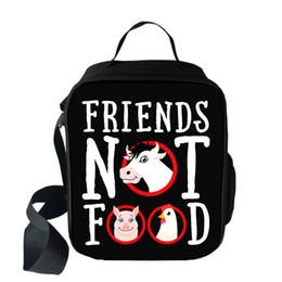 $enCountryForm.capitalKeyWord Australia - Friends Not Go Vegan Students School Bag Boys Girls Lunch bag Wild donkey Women Men Lunch Box Best Gift