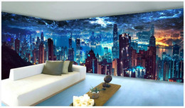 theme wallpaper NZ - Hong Kong City Theme Space Mural wallpaper for walls 3 d for living room