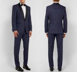 $enCountryForm.capitalKeyWord NZ - Navy Blue Men Wedding Suits Custom Made Slim Fit Wedding Groom Tuxedos For Men Groomsman Best Man Suit Jacket+Pants+Bow