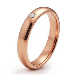 Tungsten Ring Women Cz Australia - 4mm Domed Tungsten Carbide Ring for Women Girl Rose Gold Color CZ Inlay Engagement Band Highly Polished Full Size 4 to 11