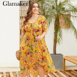 2fe96515fec Glamaker Elegant floral yellow boho dresses for Women v neck lace up plus  size dress Ladies short sleeve summer party club dress