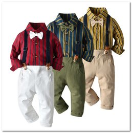christmas clothes Australia - Baby Boys casual outfits kids stripe lapel long sleeve shirt+suspender pants+Bows tie 3pcs sets christmas family party clothing J0596