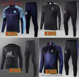 Kids football suits online shopping - 2019 survetement psg enfant jordam tracksuit training suit mbappe kids Maillots de football kit Marseille soccer jacket
