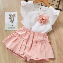 e9f7f174c Girls Clothing Sets 2019 New Summer Girls Clothes 2Pcs Kids Clothing Sets  For 2-6 Years Sleevless Flowers T Shirt Soft Cheap