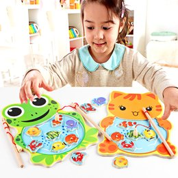 $enCountryForm.capitalKeyWord Australia - magnetic Baby Kids Magnetic Game Board with 2 Rod for Children Wooden Animal Frog Cat Fishing Toy Educational Baby Toys