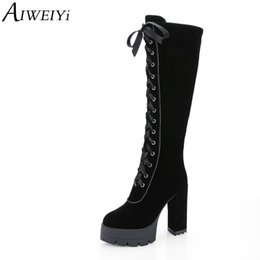 Knee High Shoe Laces Australia - AIWEIYi Lace Up Knee High Boots Women Punk Style Boots Women High Heel Shoes Lace Up Long Botas Winter Thigh