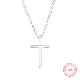 $enCountryForm.capitalKeyWord Australia - Simple Design Pure Hotsale 925 sterling silver stylish chain Choker Statement Charm Cross Pendant Necklace for women Lariat Necklace