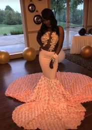 flower girls size 16 NZ - 2019 Peach Pink Prom Dress Mermaid Formal Party Gown Sleeveless Black Girl Evening Dresses Deep Sexy Flowers Custom Made Plus Size Dresses