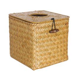 $enCountryForm.capitalKeyWord UK - Container Decoration Car Handmade Napkin Holder Table Pumping Paper Home Organizer Seaweed Woven Storage Case Square Tissue Box
