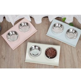 Dog Plates Australia - Stainless Steel Double Bowls Plate Teddy Dog Cat Food Basin Puppy Pet Dogs Cats Feeding Supplies Q190523