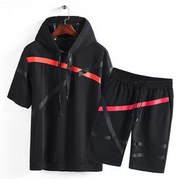 Wholesale summer hoodies for men online – oversize Summer Brand High Quality Men Sportswear Hoodies Short Sleeve T shirt Shorts Sporting Suit Two Piece Set for Tracksuits
