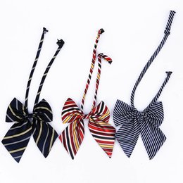 wholesale school ties NZ - Hot Sale Bow Tie For Women High School Girl Student Uniform Formal Suit Accessories Cravat Striped Butterfly Knot