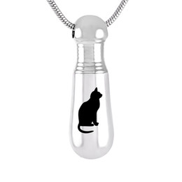 cat cremation jewelry UK - Cremation Ashes Urn Necklace Baseball Bat Exercise Memorial Cute cat Pendant Engraved Urn Jewelry for Ashes