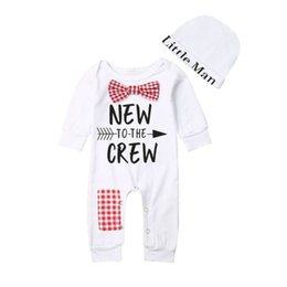 Cute Casual jumpsuits online shopping - 0 Months Cute Baby Boys Girls Cotton Sets Romper Hat Bow Tie Long Sleeve Jumpsuit Newborn Baby Cotton Clothes Outfits