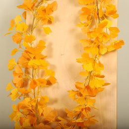 Decoration water wall online shopping - Simulation Plastic Ginkgo Leaves Rattan Water Pipe Decoration Vine Plant Flower Vine Wall Hanging Home Decoration Accessories