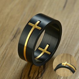 male finger rings Australia - Mens Stainless Steel Cut Removable Jesus Cross Finger Rings Tail Thumb Wedding Band for Men Two Tone Male Jewelry