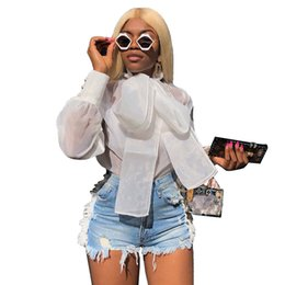 $enCountryForm.capitalKeyWord Australia - 2019 New T-shirt Femme Summer Organza See Though Big Bow Neck Long Puff Sleeve Blouses Shirts Fashion Vintage Top Streetwear Women