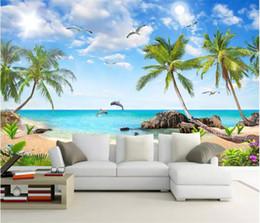 Venta al por mayor de La foto de encargo del papel pintado de coco Mar del paisaje del árbol de pared 3D murales Sala de TV Sofá Telón de fondo de papel de pared Decoración Frescos