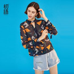 Discount vintage chiffon blouse print - Toyouth 2019 Women Spring Blouse Fashion V Neck Loose Chiffon Print Blouse Female Vintage Long Sleeve Shirts