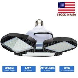 Venta al por mayor de Stock en EE. UU. - 60W 80W Luz de garaje LED Estándar E27 6000K Iluminación de garaje deformable Luces de tienda led para almacén Taller Sótano Granero