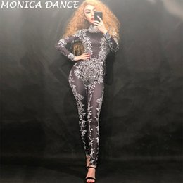Sexy dance leggingS online shopping - Sexy Stage Black Crystals Stretch Jumpsuit Sexy Nightclub Bar Dance Wear Bodysuit Leggings Celebrate Outfit Performance Clothing