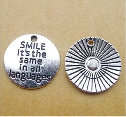 Smile Pack Australia - LY270 20*20mm alloy smile alphabet silver jewelry accessories 100 pack 1.9g