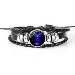 Gem Men NZ - Vintage 12 Constellation Zodiac Capricorn Time Gem Glass Cabochon Bracelet Woven Punk Leather Rope Beaded Jewelry For Women Men Jewelry Gift
