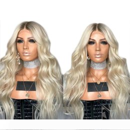 sexy wavy hair Australia - New Sexy Africa American Platinum Blonde Wig 180% Density Long Wavy Glueless Synthetic Lace Front Wigs With Baby Hair Fiber Hair For Women