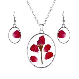 $enCountryForm.capitalKeyWord Australia - Classical Glass Vial Necklace Earrings Set Prince Rose Necklace pendants Retro Crystal Natural Dried Rose Flowers Necklace For Mom Family