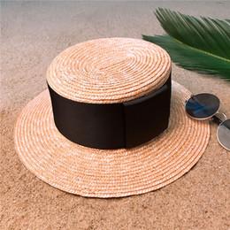 $enCountryForm.capitalKeyWord Australia - Wheat Straw Summer Women Flat Boater Hat Summer Beach Sun Hat For Elegant Lady Round Flat Top Panama Hat Size 56-58CM