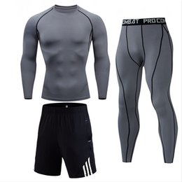 men s compression shorts NZ - Running clothes Men's Gym Fitness set compression tights jogging suits sweatshirt Shorts Sports T shirt Men's tracksuit S-XXXXL