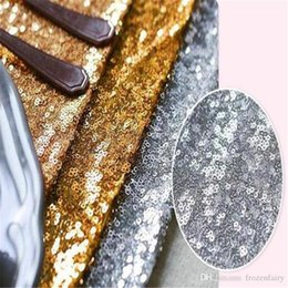 Fabric Decorations For Parties Australia - 30*275cm Fabric Table Runner Gold Silver Sequin Table Cloth Sparkly Bling for Wedding Party Decoration Products Supplies