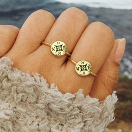 $enCountryForm.capitalKeyWord Australia - Bohemian Retro Compass Letter Geometry Joint Ring For Women Simple Summer Beach Party Gold Silver Clothing Ring Accessories
