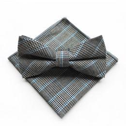 $enCountryForm.capitalKeyWord Australia - Blue Gray Men's Floral Cotton Pocket Square Bow Tie Set Plaid Casual Men's Bowties Men's Handkerchief Set Mens Accessories