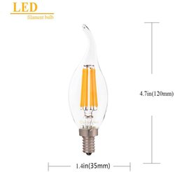 Candle Lit Chandelier Australia - E12 E14,2W 4W 6W LED Filament Candelabra Light Bulb,2200K(warm yellow),Chandelier Flame Tip,110-240VAC Candle bulb