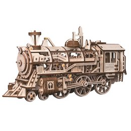 $enCountryForm.capitalKeyWord Australia - Hot Popular Creative Mechanical Gears 3d Wooden Puzzle For Children Movement Assembled Locomotive Steam Stem Gift Toys Drop Ship MX190730