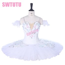red white tutus Australia - Girl Ballerina Professional Ballet Tutu White SwanBT9257 Classical Ballet Stage Costume Pancake Platter Tutu Dress Girls
