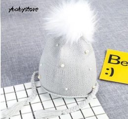 cc472c5db0d Autumn and winter baby cap Children ball top protect Ear Woolen hat Black Pink  Gray Knitted hat 2pcs lot