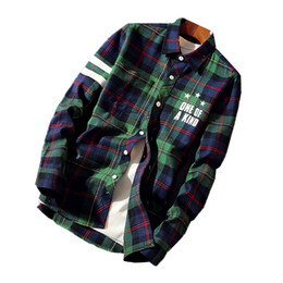 319ea5ed50bb Collar de fiesta para hombre de manga larga camisas a cuadros tamaño 5XL  rojo verde juventud moda casual camisa de los hombres tela de algodón  transpirable ...
