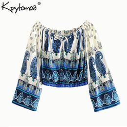 31e2178ca0b Boho Chic Summer Off Shoulder Short Tops Vintage Paisley Print Blouses  Women 2019 Fashion Long Sleeve Beach Shirts Blusas Mujer