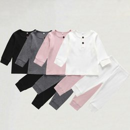 Knit vest girls online shopping - Newborn Baby Boy Girl Clothes Sets Solid Knitted Cotton Long Sleeve Tops Trousers Pants